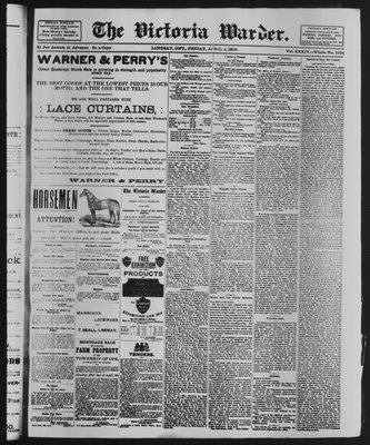 Victoria Warder (Lindsay, ONT), 4 Apr 1890