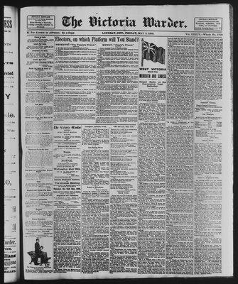 Victoria Warder (Lindsay, ONT), 9 May 1890