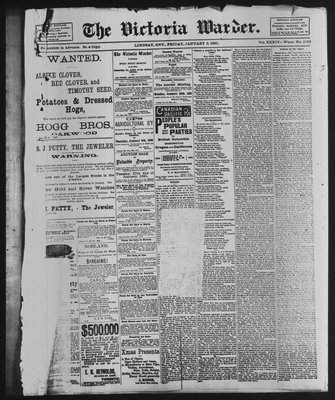 Victoria Warder (Lindsay, ONT), 2 Jan 1891