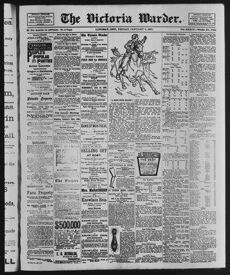 Victoria Warder (Lindsay, ONT), 9 Jan 1891