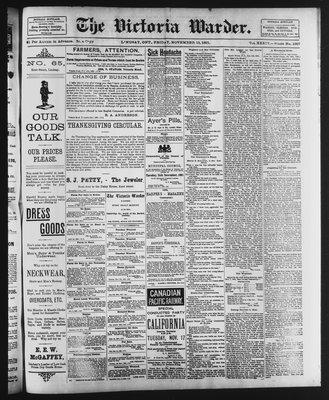 Victoria Warder (Lindsay, ONT), 13 Nov 1891