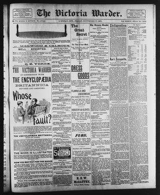 Victoria Warder (Lindsay, ONT), 27 Nov 1891