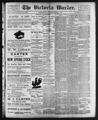 Victoria Warder (Lindsay, ONT), 4 Mar 1892