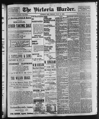 Victoria Warder (Lindsay, ONT), 22 Jul 1898