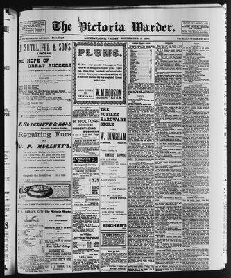 Victoria Warder (Lindsay, ONT), 2 Sep 1898