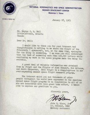 Letter from John Glenn (Astronaut)