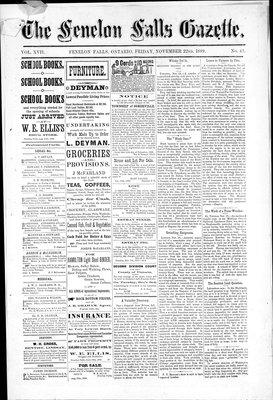Fenelon Falls Gazette, 22 Nov 1889