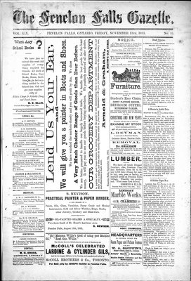 Fenelon Falls Gazette, 13 Nov 1891