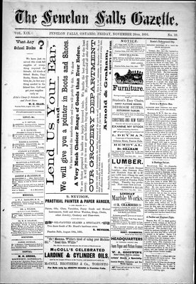 Fenelon Falls Gazette, 20 Nov 1891