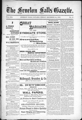 Fenelon Falls Gazette, 1 Dec 1893