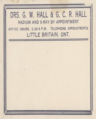 Stationery from the Halls' Medical Practice