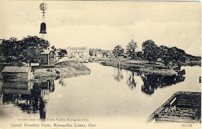 Canal at Fenelon Falls, Kawartha Lakes, Ont. On the route of the Trent Valley Navigation Co.