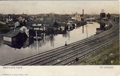 Bird's-Eye View of Lindsay; Train tracks and Scugog River