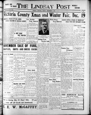 Lindsay Post (1907), 1 Dec 1911
