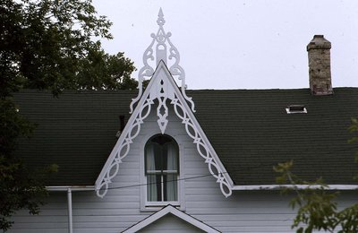 Overlaid frame with gothic window in gable, Mariposa