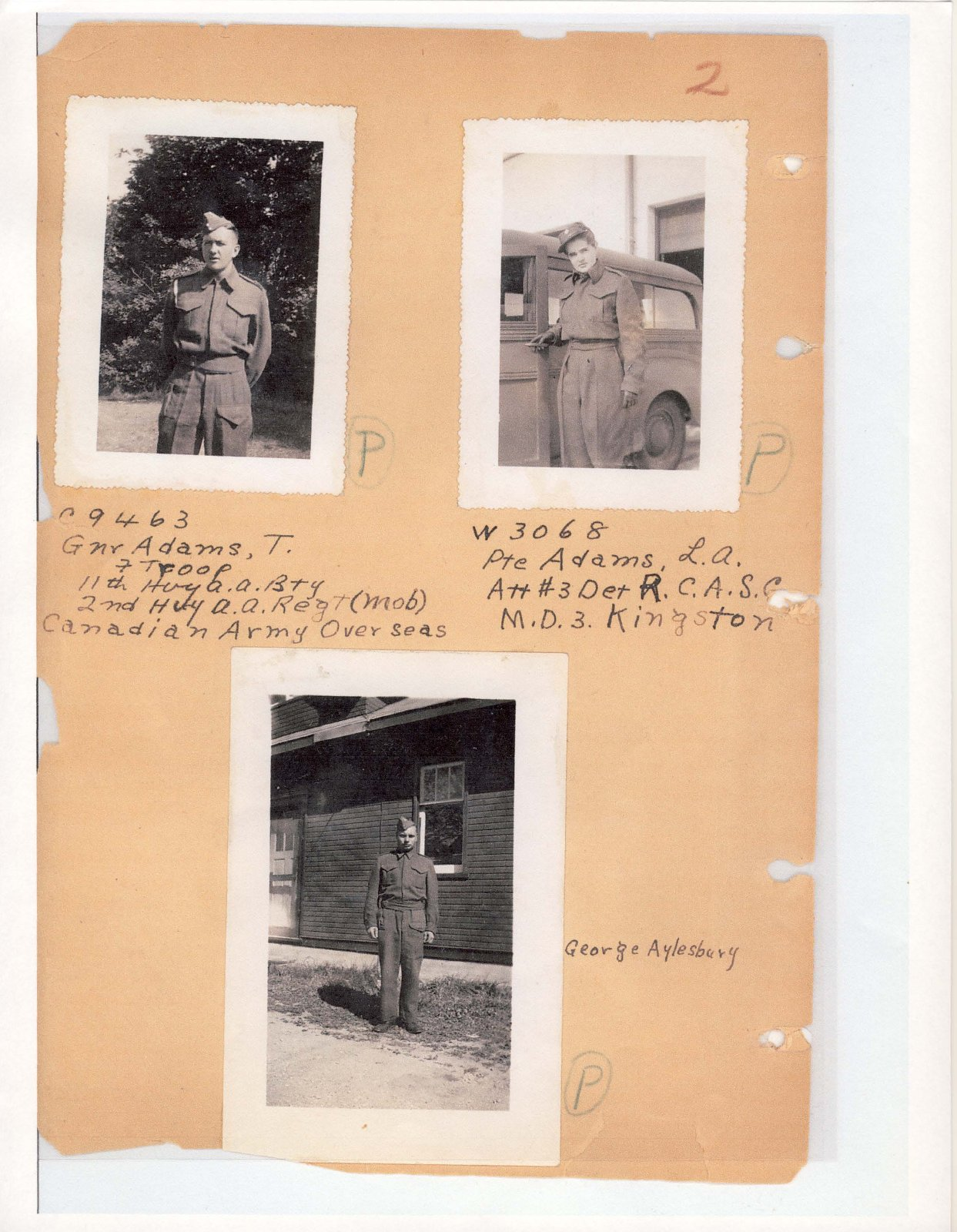 Page 3: Gunner and Private Adams and George Aylesbury