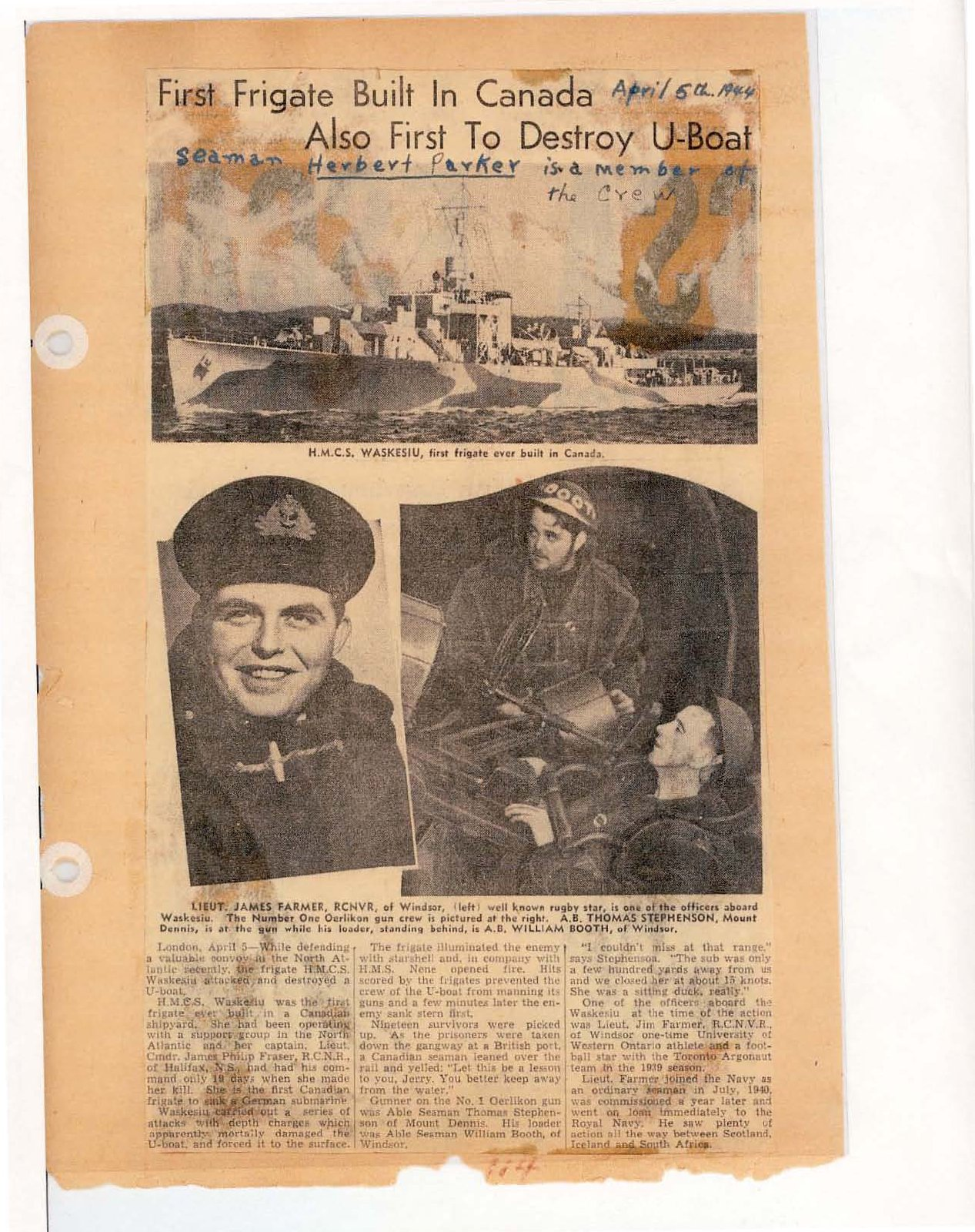 Page 61: First frigate built in Canada also first to destroy U-Boat