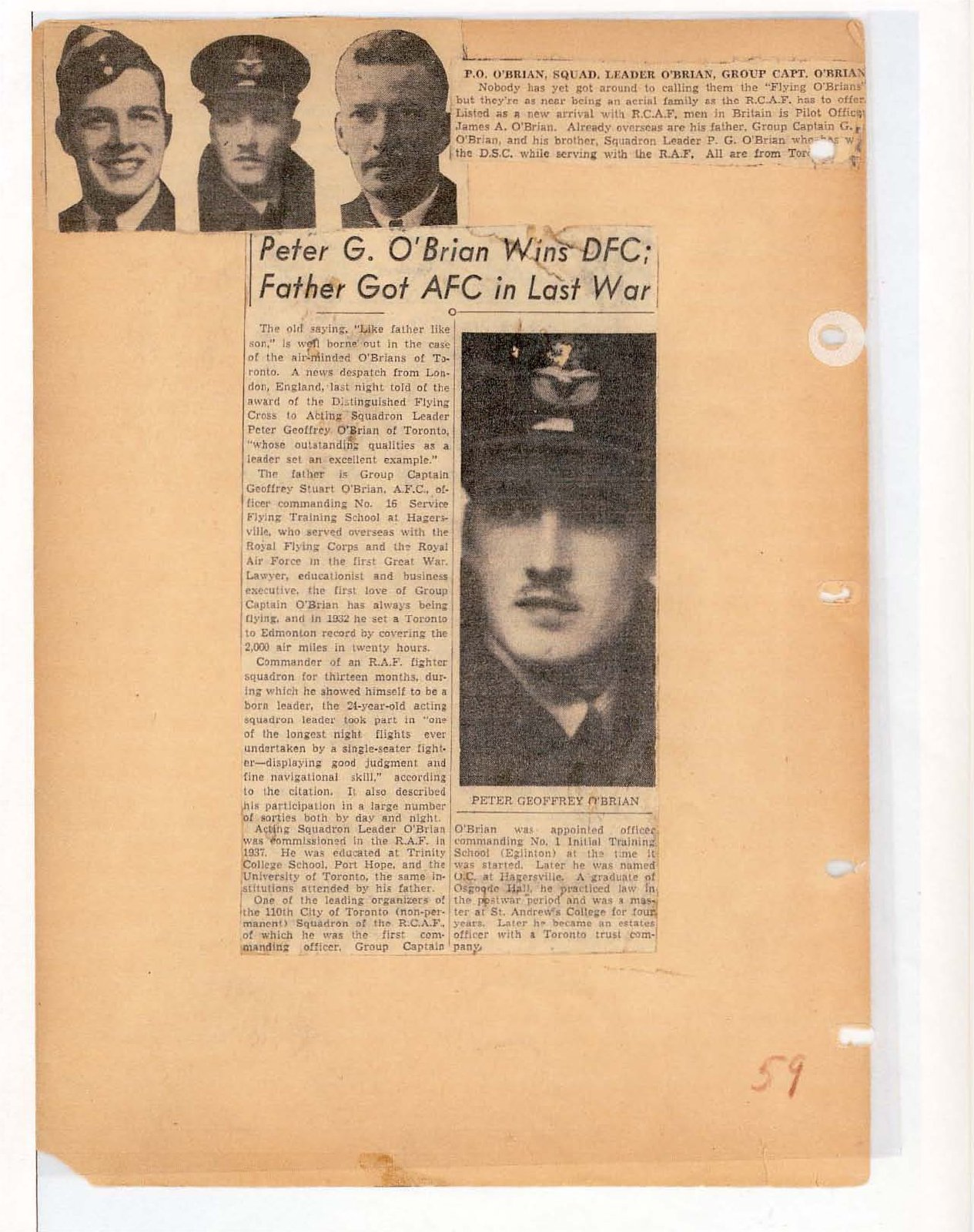 Page 62: Peter G. O'Brian wins DFC; Father got AFC in last war