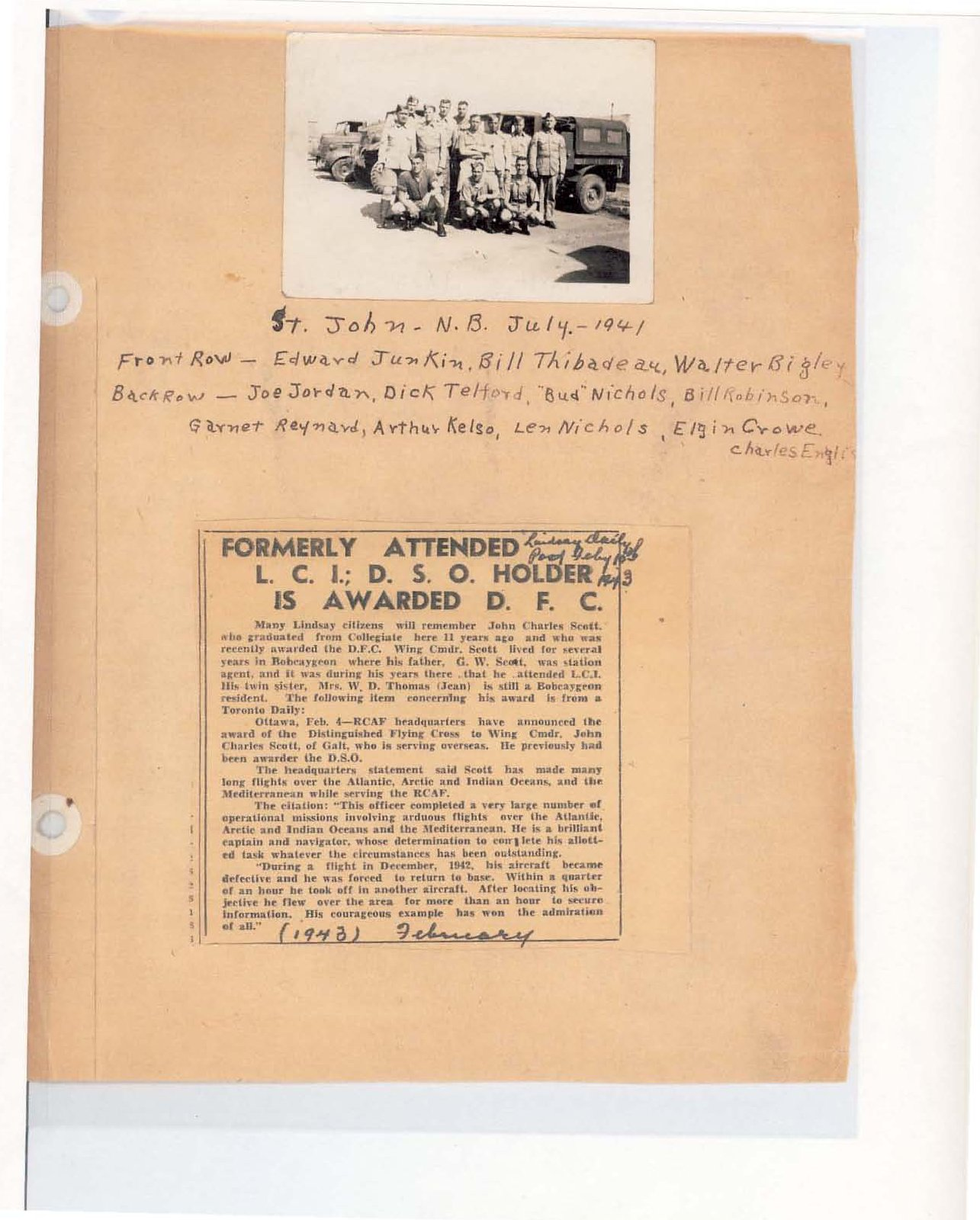 Page 74: Formerly attended L.C.I.; D.S.O. holder is awarded D.F.C.