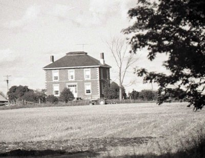 Red brick, two storey; Unknown Location