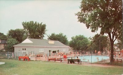 The community swimming pool and park, Lindsay, Ontario, Canada
