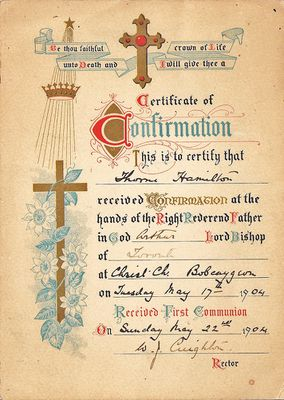 Theodore Thorne Hamilton - Certificate of Confirmation, 17 May 1904