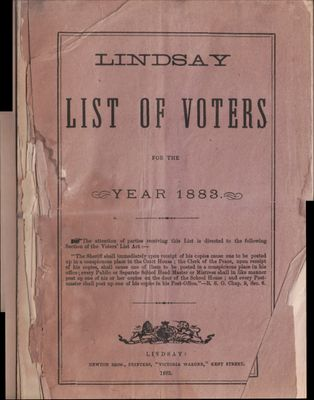 Lindsay Voters List 1883