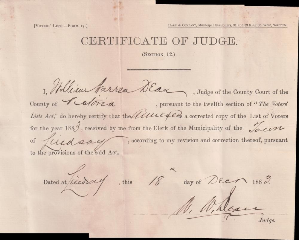 Lindsay Voters List 1883