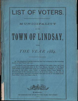Lindsay Voters List 1884