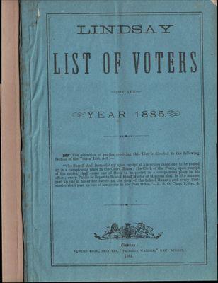 Lindsay Voters List 1885