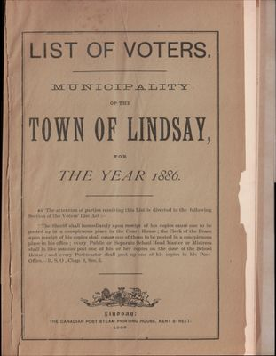 Lindsay Voters List 1886