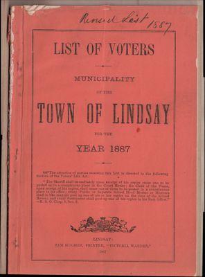 Lindsay Voters List 1887