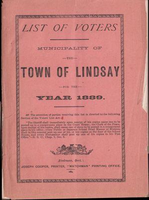 Lindsay Voters List 1889