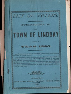 Lindsay Voters List 1890