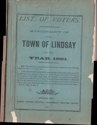 Lindsay Voters List 1891