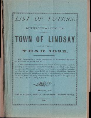Lindsay Voters List 1892