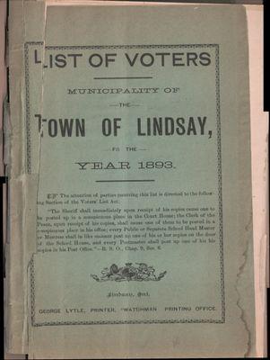 Lindsay Voters List 1893