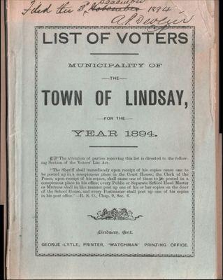 Lindsay Voters List 1894