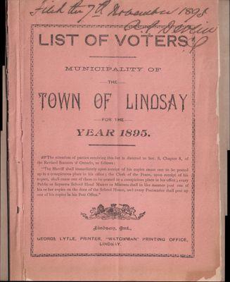 Lindsay Voters List 1895