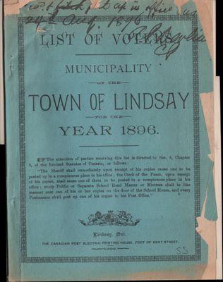 Lindsay Voters List 1896