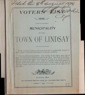 Lindsay Voters List 1898