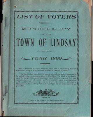 Lindsay Voters List 1899