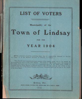 Lindsay Voters List 1904