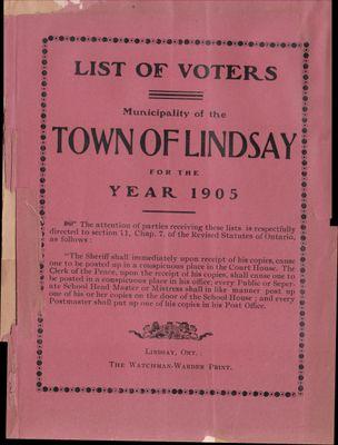 Lindsay Voters List 1905