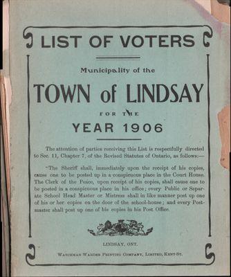 Lindsay Voters List 1906