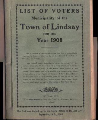 Lindsay Voters List 1908