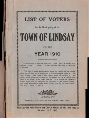 Lindsay Voters List 1910