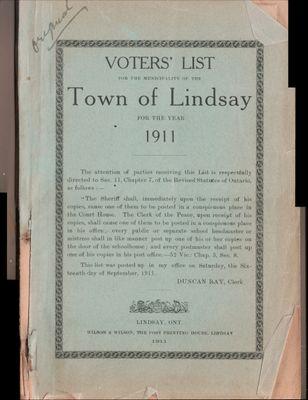 Lindsay Voters List 1911