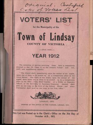 Lindsay Voters List 1912