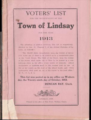 Lindsay Voters List 1913